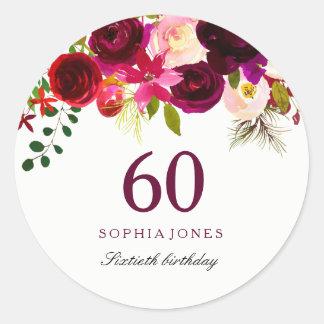 Adesivo Festa de aniversário floral vermelha de Borgonha