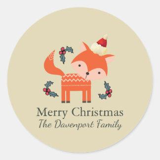 Adesivo Fox alaranjado no Natal lunático bonito do chapéu