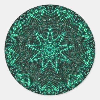 Adesivo Fractal verde cintilando da estrela