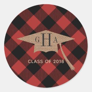 Adesivo Graduação Monogrammed 2018 da xadrez do búfalo de