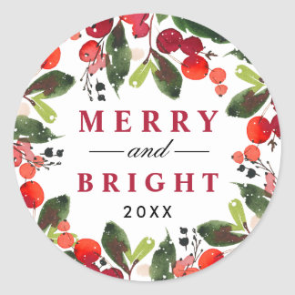 Adesivo Grinalda alegre e brilhante do Natal da aguarela