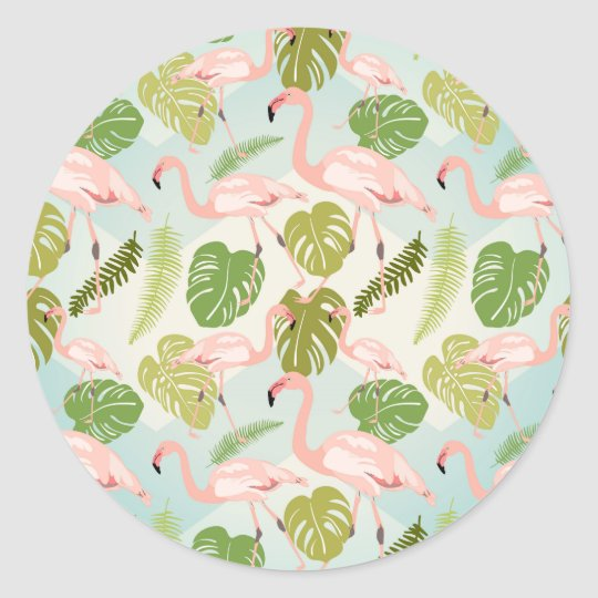 Adesivo Hand drawn pink flamingo and monstera leaves. Seam