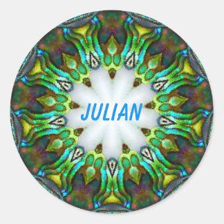 Adesivo ~ JULIANO ~ personalizado do Fractal de Paua Shell