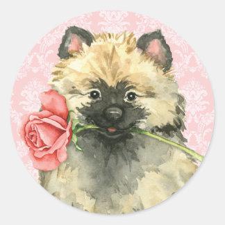 Adesivo Keeshond cor-de-rosa dos namorados