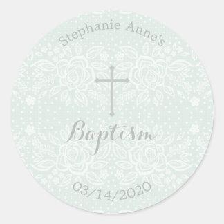 Adesivo Laço floral delicado do Opal azul do baptismo