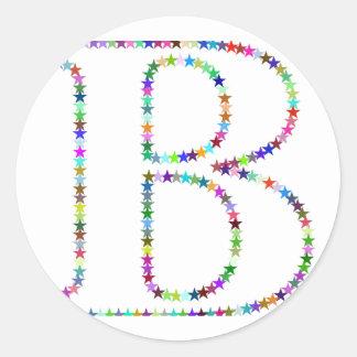 Adesivo Letra B da estrela do arco-íris