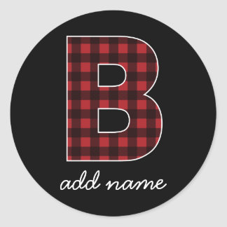 Adesivo Letra B do monograma - preto vermelho da xadrez do