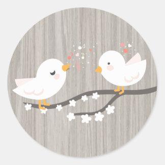 Adesivo Lovebirds brancos de madeira cinzentos rústicos