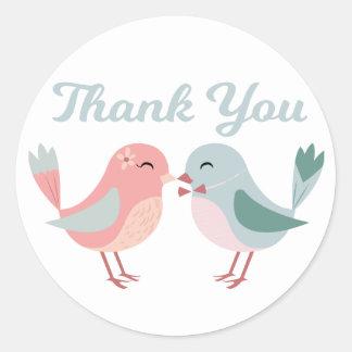 Adesivo Lovebirds cor-de-rosa & obrigado azul você Wedding