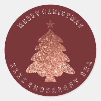 Adesivo Marrom cor-de-rosa de Borgonha do ouro da árvore