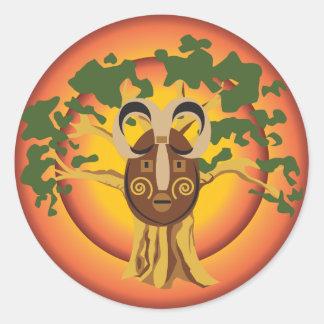 Adesivo Máscara tribal primitiva na árvore Sun de