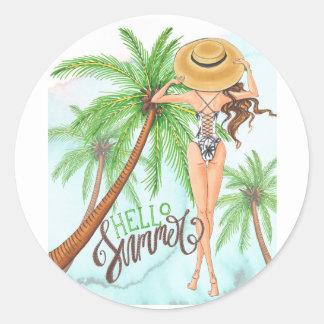 Adesivo Menina no verão da ilustração da forma do chapéu