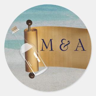 Adesivo Mensagem em um casamento de praia da garrafa