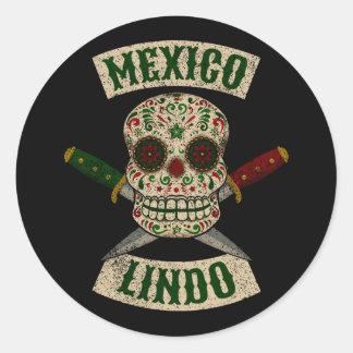 Adesivo México Lindo. Crânio mexicano com punhais