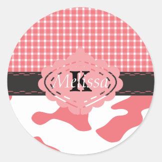 Adesivo Monograma cor-de-rosa chique da vaca & da xadrez