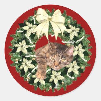 Adesivo Natal do gato malhado de Brown