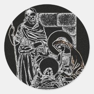 Adesivo natividade de prata branca preta