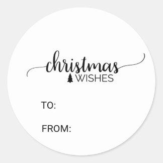 Adesivo Nome preto & branco simples do Natal da caligrafia