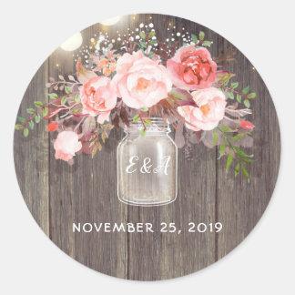 Adesivo O rosa floresce o casamento rústico do frasco de