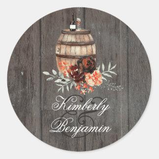 Adesivo O tambor de vinho Borgonha rústica floresce o