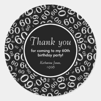 Adesivo Obrigado: 60th festa de aniversário preto e branco