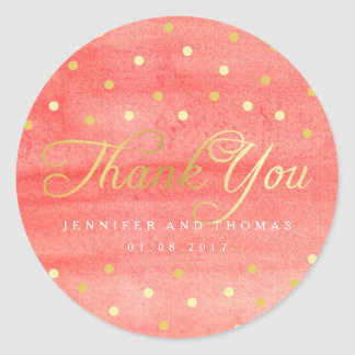 Adesivo Obrigado cor-de-rosa do casamento da textura da