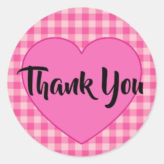 Adesivo Obrigado cor-de-rosa rústico do coração do guingão
