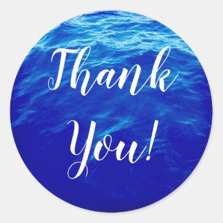 Adesivo Obrigado da caligrafia da água azul você