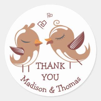 Adesivo Obrigado de Brown você Lovebirds - pássaros do