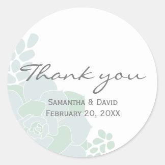 Adesivo Obrigado elegante do casamento do Succulent você