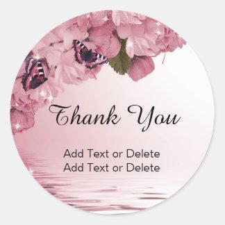 Adesivo Obrigado floral cor-de-rosa editável lindo da