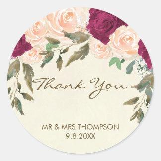 Adesivo obrigado floral de Borgonha do pêssego você