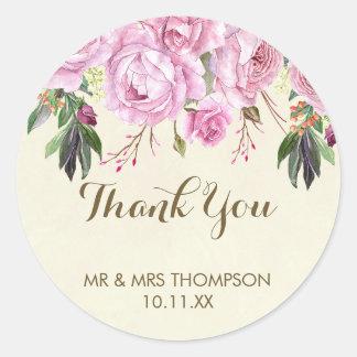 Adesivo Obrigado floral roxo do casamento da lavanda você