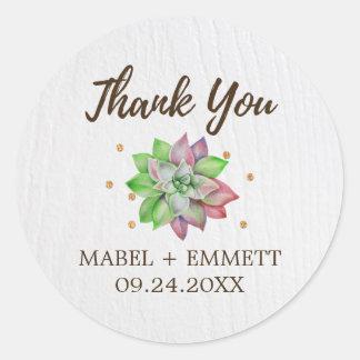 Adesivo Obrigado floral rústico do Succulent você favor do