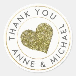 Adesivo obrigado o favor/casamento com coração do ouro