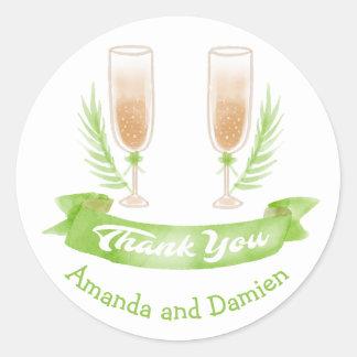 Adesivo Obrigado verde da aguarela você vidros de vinho