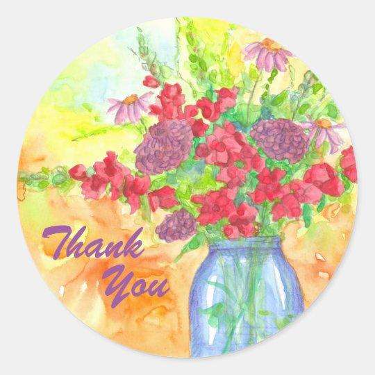 Adesivo Obrigado vermelho do buquê da flor você