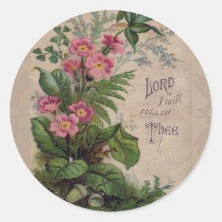 Adesivo Oração floral do vintage eu seguirei Thee