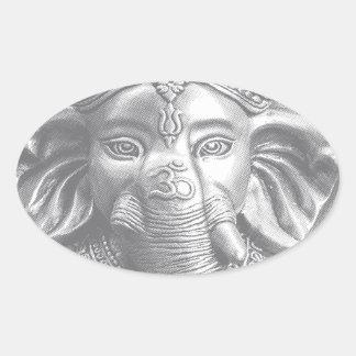 Adesivo Oval 3d senhor Ganesha - OM