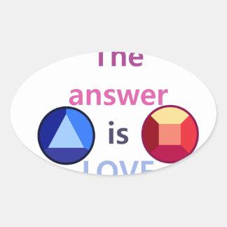 Adesivo Oval A resposta é o amor (v1)