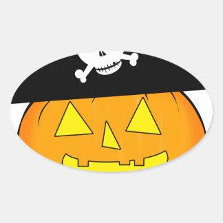 Adesivo Oval abóbora do pirata