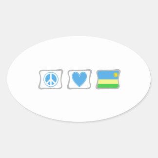 Adesivo Oval Amor da paz e quadrados de Rwanda