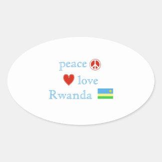 Adesivo Oval Amor e Rwanda da paz