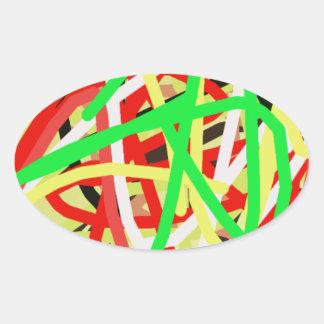 Adesivo Oval arte abstracta 676 colorida
