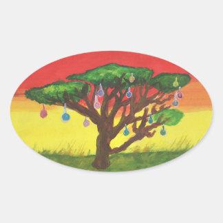 Adesivo Oval Árvore de Natal da acácia