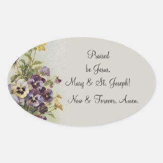 Adesivo Oval As citações florais da oração dos Pansies do