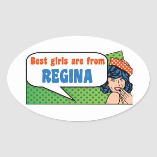Adesivo Oval As melhores meninas são de Regina
