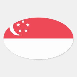Adesivo Oval Baixo custo! Bandeira de Singapore