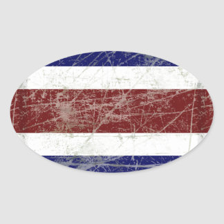 Adesivo Oval Bandeira da Costa Rica