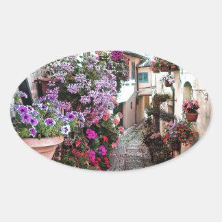 Adesivo Oval Becos de Windows, do balcão e da flor em Spello